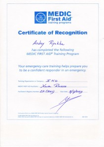 Certificate Medic First Aid